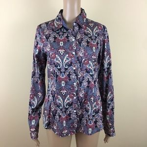 Tommy Hilfiger Button Up Shirt Medium Blue Paisley
